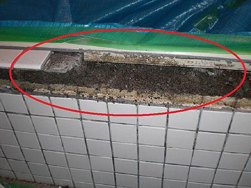 【5】浴槽エプロン前に、浮きが生じた原因と思われるエプロン天端部分(上の部分)を剥がすと、水が差した後になっており、中がボロボロになっていた。
